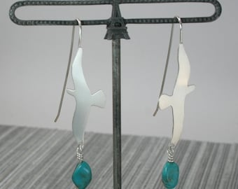 Bird and turquoise sterling silver drop earrings