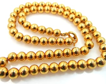 "6mm Beaded Links Gold Filled 16 1/2"" Chain Necklace, Gold Choker, Ball Bead, Edwardian Necklace, Vintage Gold Chain Necklace"
