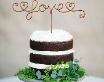 Love Cake Topper - Wire Cake Topper - Rustic Cake Topper - Wedding Cake Topper - Rustic Chic - Gold Cake Topper - Copper - Hearts
