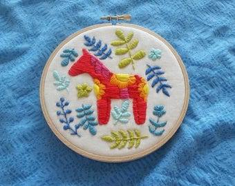 Colorful Scandinavian Dala Horse Folk Art Embroidery, Hand Stitched Embroidery, 5 inch Hoop