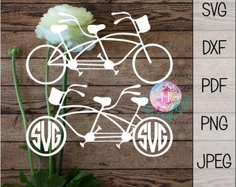 Tandem bike SVG cutting file / cricut bike SVG files / tandem bike instant download / monogram tandem bike