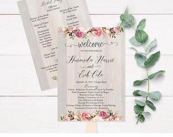 Wood Wedding Program Fans, Wooden Wedding Program Template, Instant Download Wedding Programs, Personalized Wedding, Custom Program, PDF F9