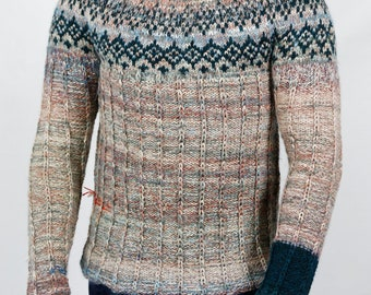 Hand knitted Icelandic style sweater