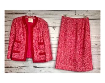 60's Saks Fifth Avenue Pink Tweed Chanel Style suit - vintage pink 2pc suit - medium vintage jackie o suit - vintage pink tweed suit jacket