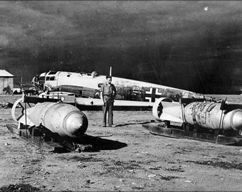 Poster, Many Sizes Available; He 111 Wreck W Bombs Benghazi 1943
