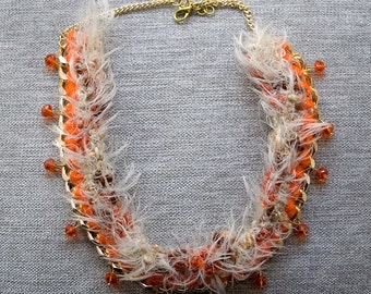 Crochet gold metal necklace with pendant-Orange Necklace, metal and orange wool crochet