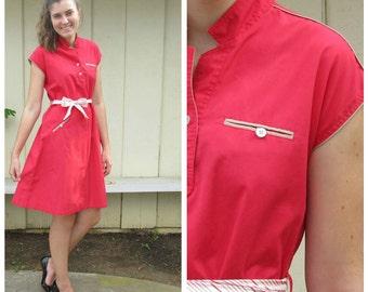 red cotton cap sleeve dress knee length 70s vintage mandarin collar A line medium to large