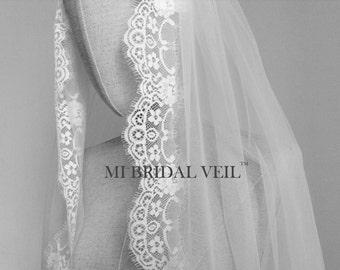 Chantilly Lace Veil, Bridal Veil Fingertip, Lace Wedding Veil, Eyelash Lace Veil, Mi Bridal Veil