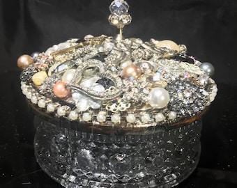 OOAK Vintage Jeweled Powder Box