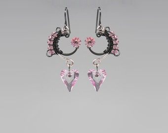Pink Swarovski Crystal Earrings, Wire Wrapped, Bridal Jewelry, Feminine Jewelry, Industrial Jewelry by Youniquely Chic, Themis II v7