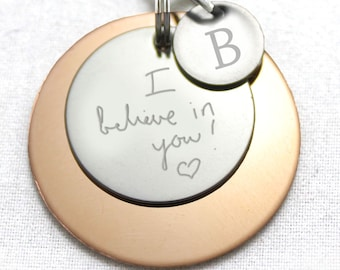 Single-sided Engraved Pendant, Handwriting Pendant, Memorial Pendant, Custom Pendant, Add your text, 25mm Disc, Personalized Pendant