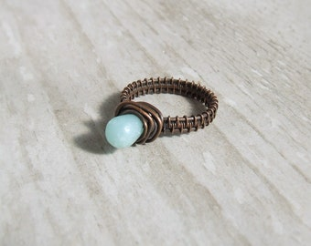 Amazonite copper ring, mint green cocktail ring, rustic natural jewelry, size 8