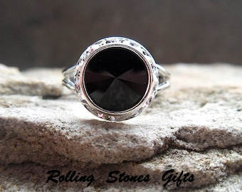 12mm Jet Black and Clear Swarovski Rhinestone Adjustable Ring-Platinum Plated Jet Black Crystal Ring-Adjustable Black and Clear Ring
