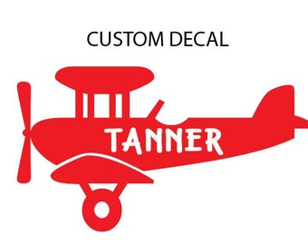 Airplane Decal with Name, Nursery Decal, Airplane Decor, Wall Decal, Glass Decal, Custom Decal, Children's Decal, Baby Boy Decal
