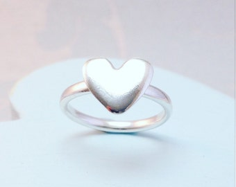 Heart Ring, Silver Heart Ring, Large Heart Ring, Valentines Gift for wife, Statement Ring, Statement Heart Ring, Silver Heart Jewellery