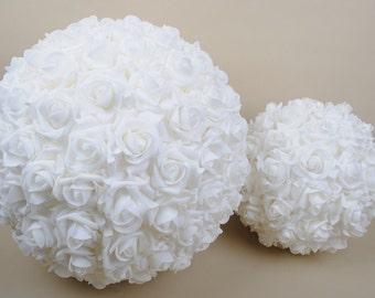 Kissing balls etsy 9 wedding ceremony decorations foam roses kissing ball pomanders white flower balls for wedding njhq 07 mightylinksfo