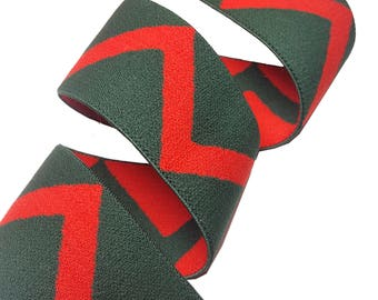 Green Red Zigzag Gucci Style Rubber Elastic Trim