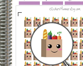 Shopping Stickers Planner Kawaii Stickers Kawaii Planner Grocery Stickers Planner Erin Condren Planner Happy Planner Shopping Planner (i63)