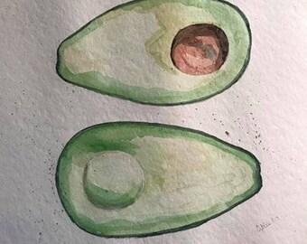 Fresh Avocado watercolor original painting