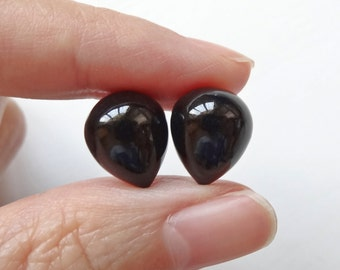 Black Agate Onyx Half Top Drilled Inverted Acorn Drops 10x12 mm One Pair F4030