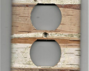 Real birch bark covered outlet cover plate - nature