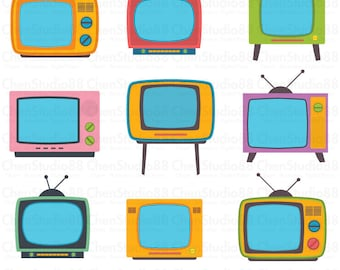 Retro television vector - Digital Clipart - Instant Download - EPS, PNG files included