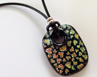 Dichroic Fused Glass Pattern of Hearts Necklace