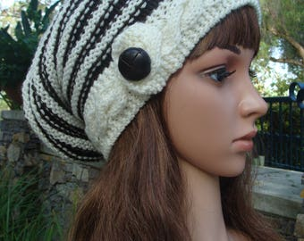 DIY- Knitting PATTERN #187: Cable Band Striped Slouchy Hat Pattern, Beehive Slouchy pattern, Knit hat pattern, PDF Digital Pattern File
