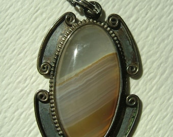 striped agate pendant necklace in sterling