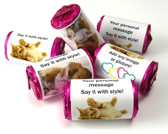 Personalised Love Heart Sweets, Favours ( Select from 10 to 100 Rolls) - with any Message or Picture