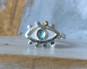 Evil Eye Ring - Silver and Gold with Blue Apatite (talisman)