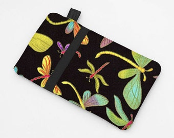 Women's iPhone 7 Plus Sleeve, Slim Phone Case, Fabric Samsung Galaxy S7 Case, Large Smartphone Cover - green purple dragonflies in black