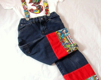 Superhero Comics Birthday Outfit: Boy Birthday Shirt, Jeans, Suspenders, birthday photo shoot, birthday age, up cycled, first birthday party