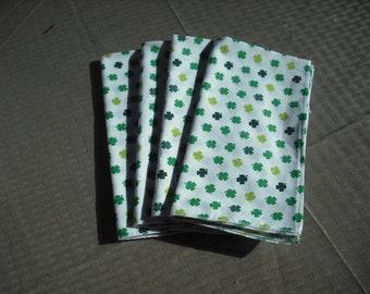 Set of 4  Shamrock napkins.  100% cotton. Machine serged.