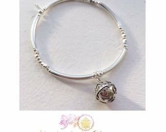 Unique Sterling Silver Stackable Stretch Noodle Bead Bracelet with  Diamond Cut Beads and Heart Harmony Bali Ball