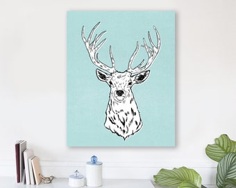 large modern wall art, large canvas wall art, animal art prints, colorful modern wall art, nursery art, woodland nursery art -Edward the Elk