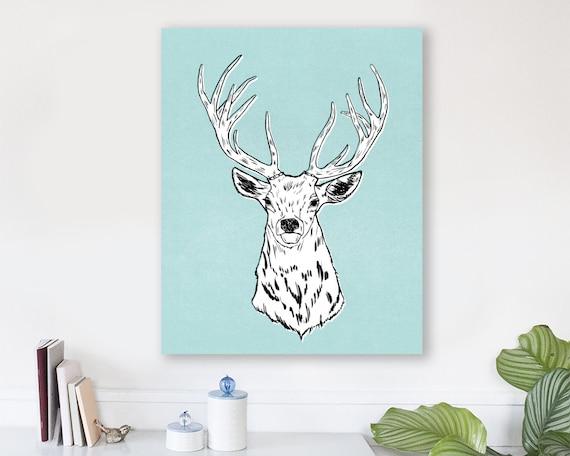 large modern wall art, large canvas wall art, animal art prints, colorful modern wall art, nursery art, woodland nursery art -Edward the Elk