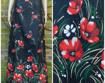 60s 70s aline high waist maxi skirt in black with bold red POPPIE print U.K. 12 - 14 M L