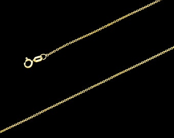 """14K Yellow Gold Rollo Chain 1mm, 16""""-18"""", with Spring Clasp"""
