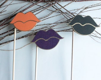 Photo Booth Props- Halloween Photo Props- Halloween photo booth- wooden props- Lips props- party props- props