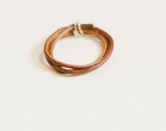 Brown twig ring, simple leather ring, triple wrap band, reversible double wear, sleek, modern, men or women, natural dye, silver, gold