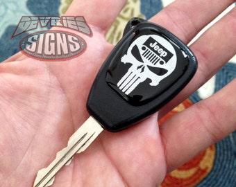 Domed JEEP key fob emblems badge punisher Wrangler JK JKU Rubicon Sahara Sport