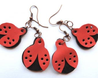 Ladybug leather earrings, red earrings, dangle and drop, summer fashion, handmade leather, beetles insect jewelry, unique gift, girl present