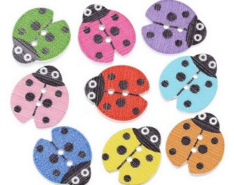 5 buttons wooden Ladybug 18 x 16 mm multicolored - 2 holes