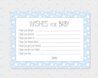 50 Advice and Wishes Cards - Baby Boy Shower Advice Cards - Wishes to the New Parents - Baby Shower Games