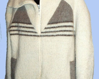 Men's Vintage Icelandic Zip Cardigan Sweater will shawl collar Sz XL by ROSKVA, listing #248631115