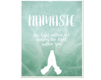 Namaste, The Light Within Me Honors The Light Within You, Modern Meditation Print, Yoga Studio Poster, New Age, Buddha Zen Quote Hands