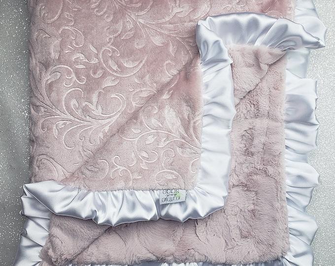 READY TO SHIP Minky blanket, baby girl blanket, baby gift, Floral blanket, Rosewater Minky, Paisley Minky Elegant Blanket, ruffle blanket