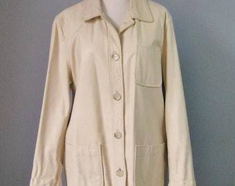 Leather Jacket / Vtg / Gap Ivory Leather Jacket / Shirt Style