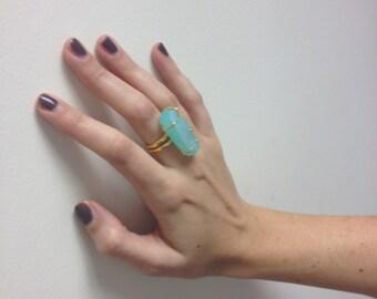 Ring - geflochten 22 ct Gold Druzy-Quarz-ring